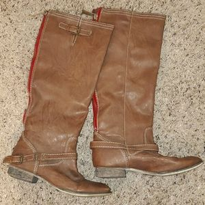 3/$15 brown boots buckle and zipper up the back